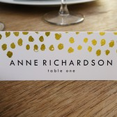 Place Card Template - Gold Dots