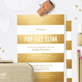 Gold Stripe Pop Fizz Clink Printable Shower Invitation