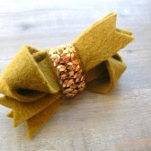 Gold Sequin Twist Bow Clip