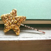 Gold Stardust Sequin Star Hair Pin