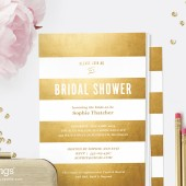 Printable Gold Stripe Bridal Shower Invitation
