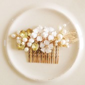Bridal Hair comb Gold and Pearls headpiece Handmade weddings