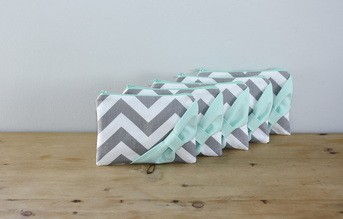 gray and mint chevron bridesmaid bags
