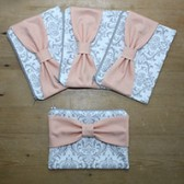 Bridesmaid GIft Set - Gray Damask Peach Bow