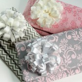 Bridesmaid Clutch Set - Danielle Clutch - with Ribbon Flower