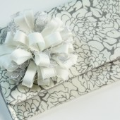 Danielle Clutch - Ivory and Gray Floral Bridesmaid Clutch