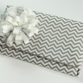 Danielle Clutch - Ivory and Gray Chevron Stripes Clutch