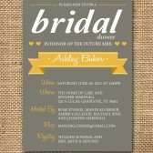 Gray and Poppy Yellow Bridal Shower Invitation