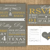 Gray and Poppy Yellow Wedding Invitation and RSVP Postcard