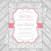 Gray and coral wedding shower invitation lace