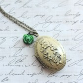 Green Antique Brass Bridesmaid Locket - Pick from 20 Rose Colors - Long Locket Necklace - Flowergirl Necklace - Rose Necklace - Bridal Locket