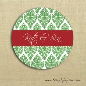 Green Damask Sticker