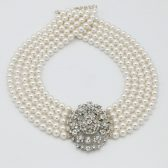 Greta Garbo Pearl and Rhinestone Necklace