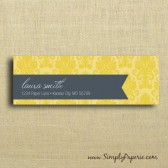 Gold Damask Return Address Sticker
