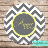 Compact Mirror Personalized Bridesmaids Gift, Gray Chevron
