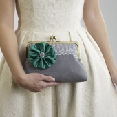 Grey Clutch with Emerald Flower Brooch