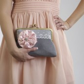 Nude/Blush Wedding- Grey Bridal Clutch with Soft Pink Flower Brooch