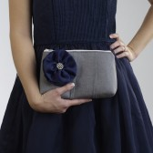 Grey pleated bridesmaid bag with Navy flower