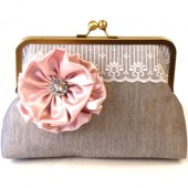 Grey Wedding Clutch with Rose Flower Brooch