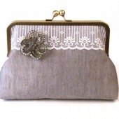 Classic Bridal Clutch Purse with Rhinestone Brooch