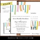 Hanging Ribbons Invitation Suite - Rustic wedding, spring colors, colorful