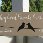 Personalized family sign - first names - love birds on a wire - established date - And they lived Happily Ever after After
