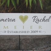 Custom family sign with first names and heart, last name and established date - personalized - custom wood sign in colors of your choice