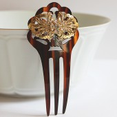 Art Deco Tortoise Gold Hair Comb