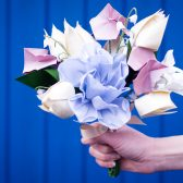 origami flowers, origami bouquet, handmade flowers, handmade bouquet, textile origami, silk flowers, bY Mi, origami wedding