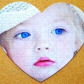 Flower Girl Gift.  Personalized Photo Jigsaw Puzzle Heart Shape  Inexpensive and unique!