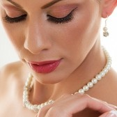 Heather - Elegant pearl and rhinestone necklace, bracelet and earrings set