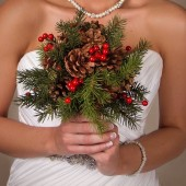 Holly - Country Chirstmas pinecone, berry and pinegreens bouquet