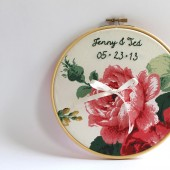 Personalized Embroidery Hoop Ring Bearer Pillow, Vintage Roses Wedding Embroidery Hoop Art, Anniversary Gift, Wedding Decoration
