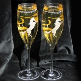 Cowboy Cowgirl Country Western wedding Champagne flutes