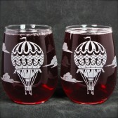 Stemless Wine Glasses with Vintage Balloons
