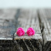 Hot Pink Rose . Post Earrings