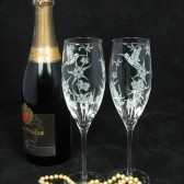 Hummingbird champagne glasses, Colorado Wedding