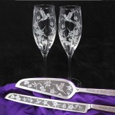 Hummingbird and Columbine Champagne Flute, Cake server and knife set