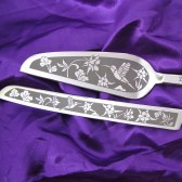 Hummingbird wedding cake server and knife set