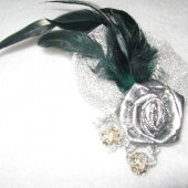 Hunter Green & Silver Fascinator