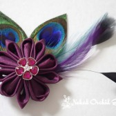 Peacock Hair Clip, Wine Burgundy Kanzashi Fascinator, Peacock Bridal Hair Clip, Feather Fascinator, Veil Hair Clip, Wine Wedding Hair Clip
