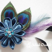 Peacock Fascinator, Teal Kanzashi Flower Hair Clip, Peacock Hair Clip, Feather Fascinator, Peacock Veil Accessory, Teal Bridal Fascinator