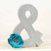 Silver Ampersand with Tiffany Blue Flower