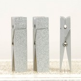 Silver Glittered Clothespin Table Number Holder
