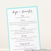Silver Glittered Menu with Tiffany Blue Accents