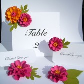 The Zinnia paper flower - Table Number Cards