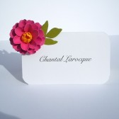 Zinnia paper flower escort Cards
