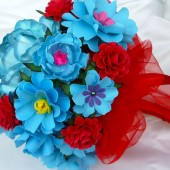 paper bouquet - Turquoise and Red