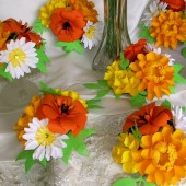 paper Flower Small Centerpieces - Yellow & orange