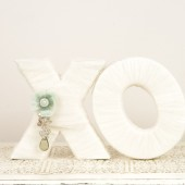 Ivory and Mint XO letters
